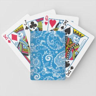 Vintage Blue White Floral Damask Pattern Bicycle Playing Cards