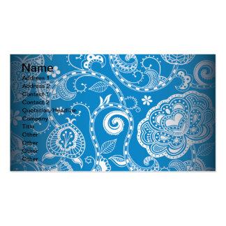 Vintage Blue White Floral Damask Pattern Business Card Templates