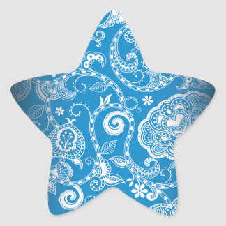 Vintage Blue White Floral Damask Pattern Star Sticker