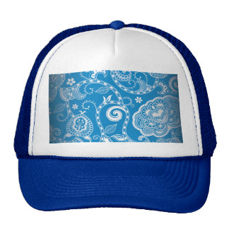 Vintage Blue White Floral Damask Pattern Trucker Hat