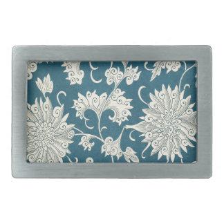 Vintage Blue  & White Floral Print Rectangular Belt Buckle