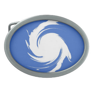 Vintage Blue, White Swirl Abstract Art Oval Belt Buckle