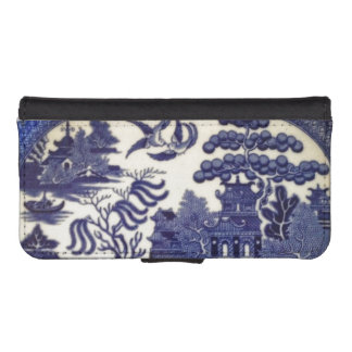 Vintage Blue Willow China Plate Pattern iPhone SE/5/5s Wallet Case