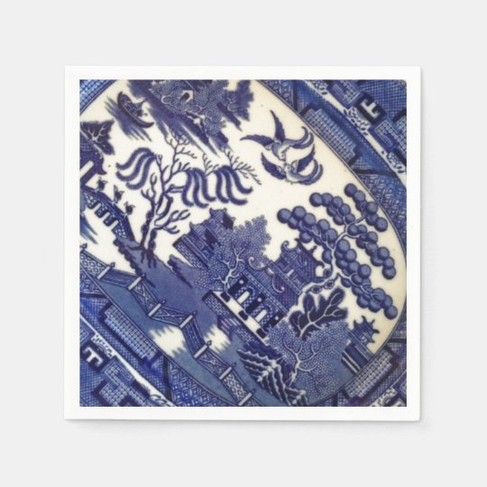 Vintage Blue Willow China Plate Pattern Tile Dish Paper Napkin & Vintage Blue Willow China Plate Pattern Tile Dish Paper Napkin ...