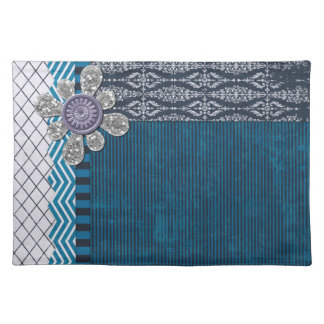 Vintage Blue with Sequins  Frame Cloth Placemat