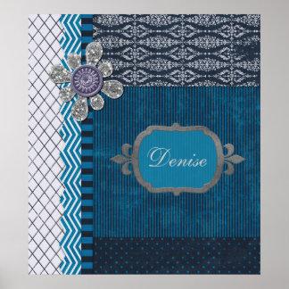 Vintage Blue with Sequins  Frame Poster