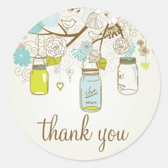 VINTAGE BLUE & YELLOW MASON JARS THANK YOU STICKER