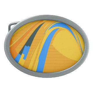 Vintage Blue Yellow Retro Painting Abstract Art Oval Belt Buckle