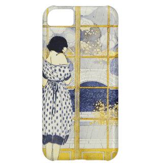 Vintage Blue Yellow Woman Dress Room Window Rain iPhone 5C Cases