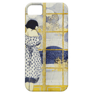 Vintage Blue Yellow Woman Dress Room Window Rain iPhone 5 Case