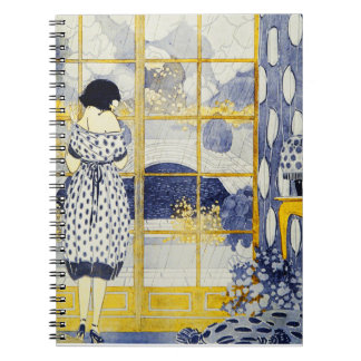 Vintage Blue Yellow Woman Dress Room Window Rain Note Book