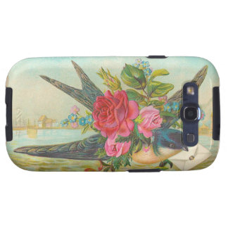 Vintage Bluebird and Roses Galaxy SIII Cases