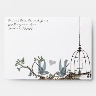 Vintage Bluebird Birdcage Envelopes
