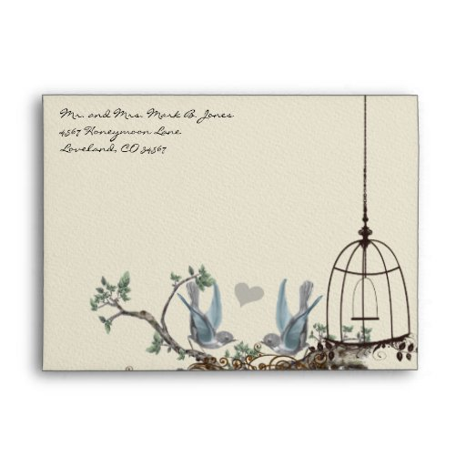 Vintage Bluebird Birdcage Envelopes