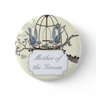 Vintage Bluebird Love Birds Wedding Badges