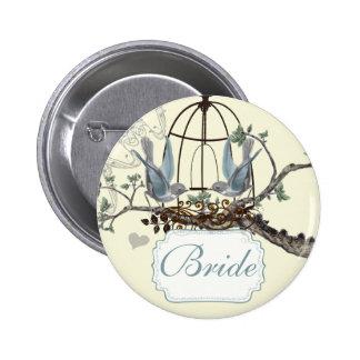Vintage Bluebird Love Birds Wedding Badges Pins