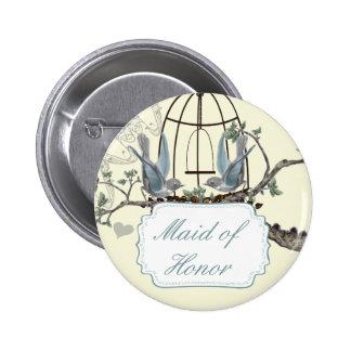 Vintage Bluebird Love Birds Wedding Badges Pin