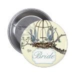 Vintage Bluebird Love Birds Wedding Badges Pinback Buttons