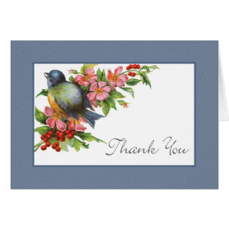 Vintage Bluebird Thank You Greeting Card