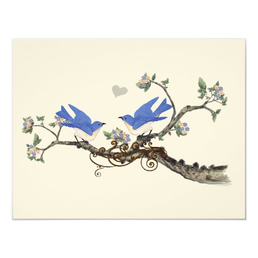 Vintage  Bluebirds Blooming Branch Wedding 4.25x5.5 Paper Invitation Card