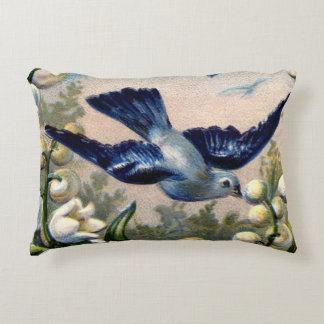 vintage bluebirds flowers lily of the valley birds accent pillow