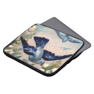 vintage bluebirds flowers lily of the valley birds computer sleeves