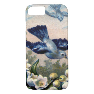 vintage bluebirds flowers lily of the valley birds iPhone 8/7 case