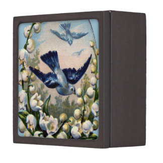 vintage bluebirds flowers lily of the valley birds jewelry box