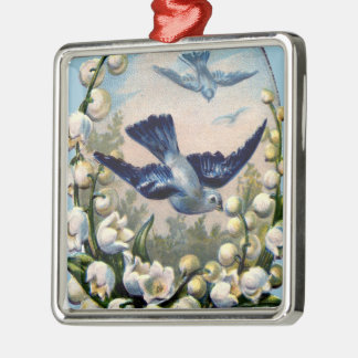 vintage bluebirds flowers lily of the valley birds metal ornament