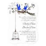Vintage Bluebirds Royal Blue Blooms Wedding Card