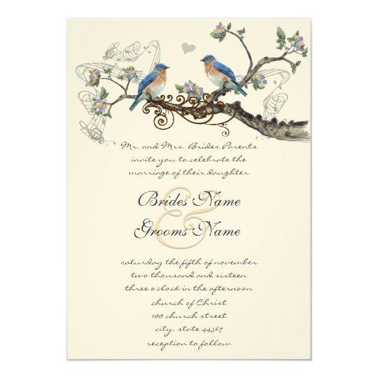 Vintage Bluebirds Wedding Invitations