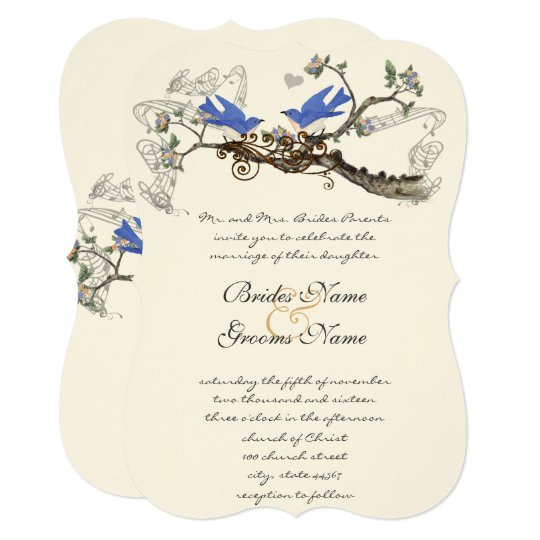 Vintage Bluebirds Wedding Invitations #2