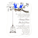 Vintage Bluebirds Yellow & Purple Blooms Wedding 5x7 Paper Invitation Card