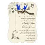 Vintage Bluebirds Yellow & Purple Blooms Wedding Custom Invite
