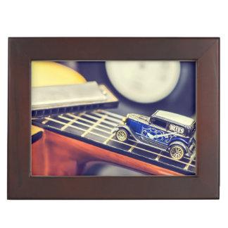 Vintage Blues Car Miniature on Guitar Box Keepsake Boxes