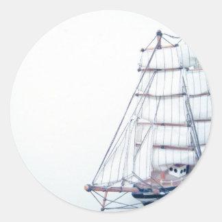 Vintage BlueShip Photo Classic Round Sticker