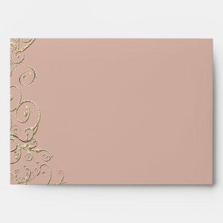 Vintage Blush and Gold Swirl Wedding Envelope