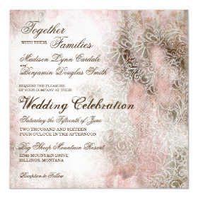 Vintage Blush Elegant Rustic Wedding Invitations