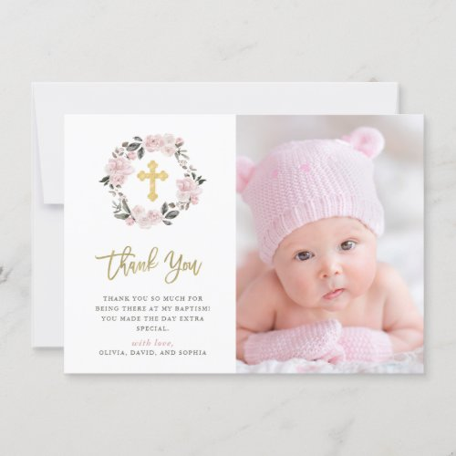 Vintage Blush Floral and Gold Cross Photo Baptism Thank You Card
