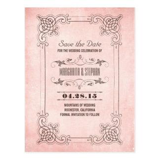 Vintage blush floral frame save the date post card