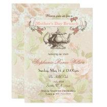 vintage Blush floral Mother's Day Brunch Tea Party Card