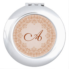 Vintage Blush Monogram Mirror Compact Compact Mirrors