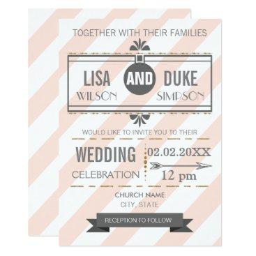 Vintage Blush Pink Gold wedding invitations