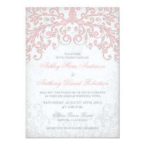 Vintage Blush Pink Grey Floral Wedding Invitation 5