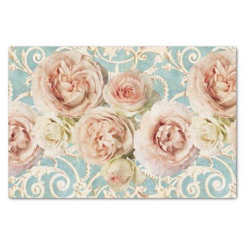 Vintage Blush Pink Heirloom Roses Floral Damask Tissue Paper