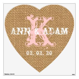 Vintage Blush Pink Initial Burlap Wedding Heart Wall Sticker