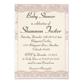 Vintage Blush Pink Lace Baby Shower Invitation