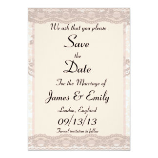 Vintage Blush Pink Lace Save The Date Notice Card