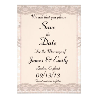 Vintage Blush Pink Lace Save The Date Notice Personalized Announcements