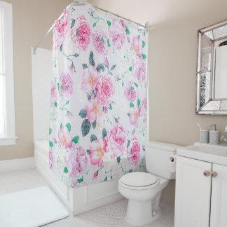 Vintage Blush Pink Rose Floral Elegant Damask Shower Curtain